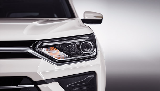 New Korando Aggressive Design Headlights